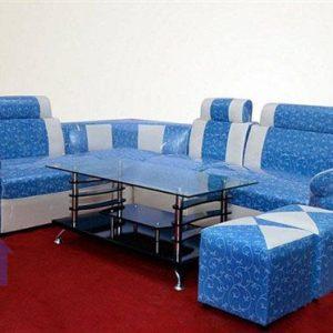 Thanh lý bộ bàn ghế sofa góc màu xanh dương nhẹ nhàng tại Cầu Giấy