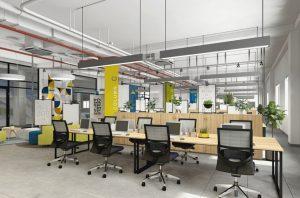 Mẫu bàn ghế văn phòng hiện đại dáng chân sắt tiện dụng