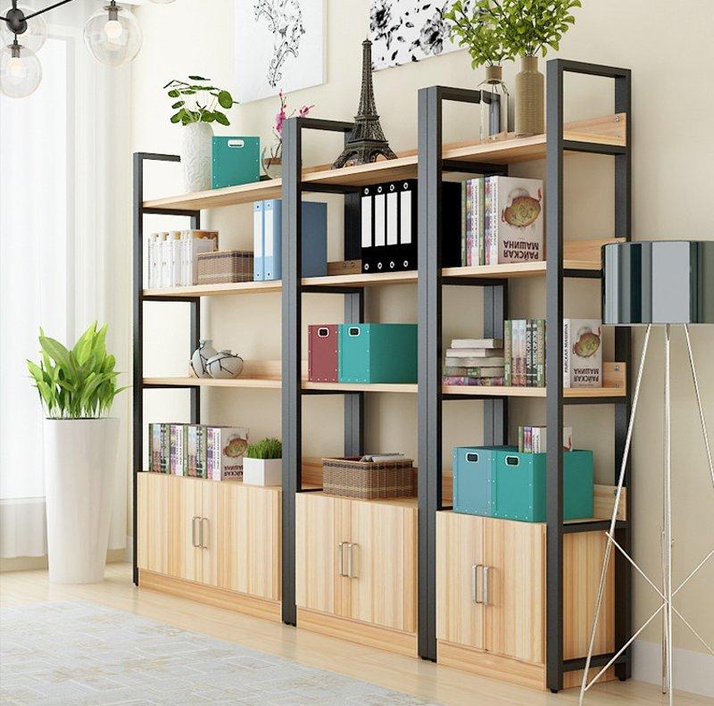 Kệ văn phòng đẹp thiết kế với tủ gỗ khóa vô cùng tiện lợi